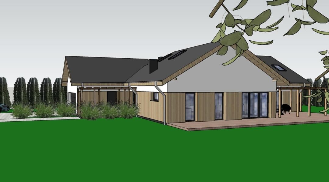 projekt domu Swarzędz drewniana elewacja