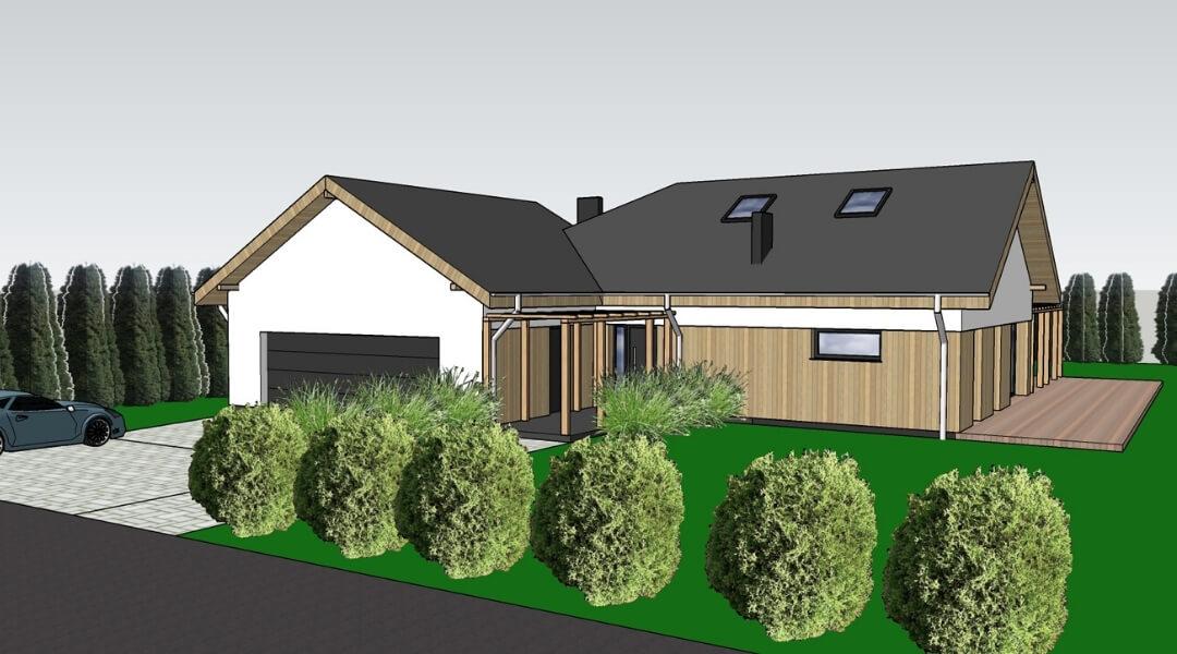 projekt domu z drewniana elewacja poznań