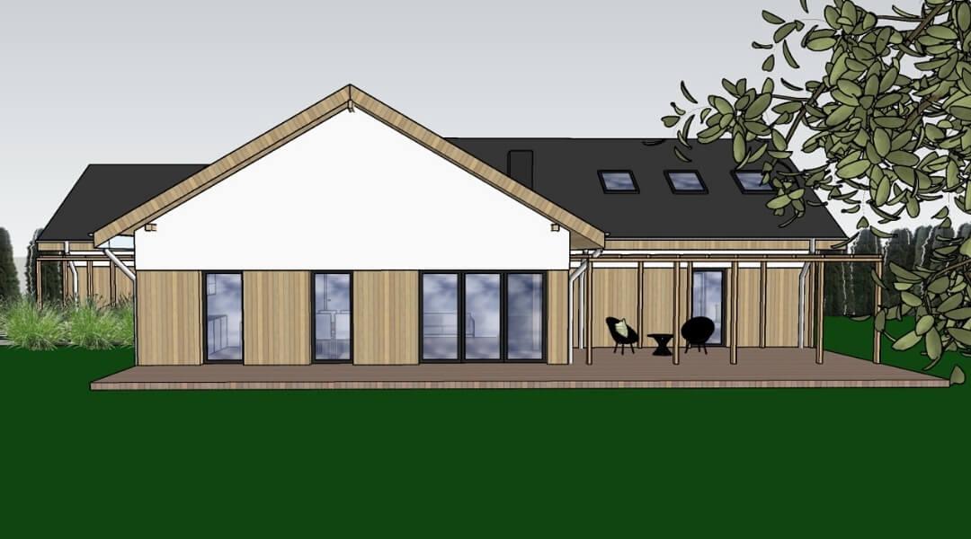 projekt domu parterowego z drewniana elewacja poznań